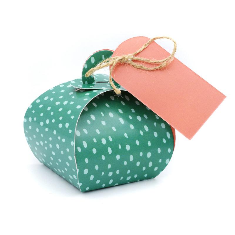 Geschenkverpakking (klein) (10 stuks) - Groen met Stip